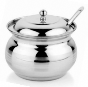 Stainless Steel Serving Pot [with Spoon & Lid] | Buy Online at the Asian Cookshop